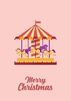 Frohe weihnachten grußkarte buntes karussell mit pferden.