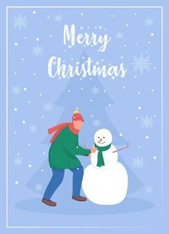 Frohe weihnachten grußkarte flache vorlage. mann, der schneemann baut. weihnachtszeit. broschüre, broschüre einseitiges konzeptdesign mit comicfiguren. winterferienfeier flyer, faltblatt