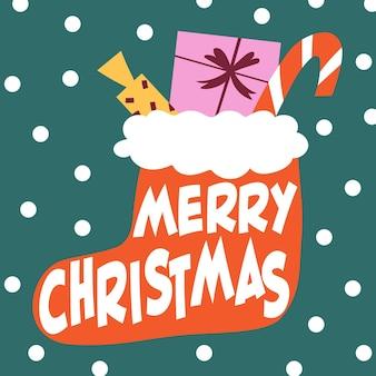 Frohe weihnachten grußkarte hand gezeichnete illustration im flachen cartoon-stil