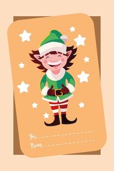 Frohe weihnachten grußkarte helfer charakter design illustration