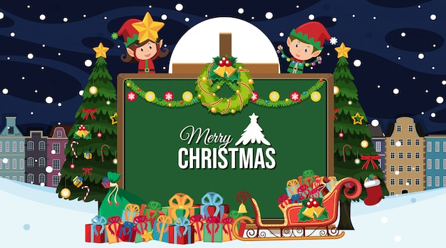 Frohe weihnachten grußkarte im cartoon-stil