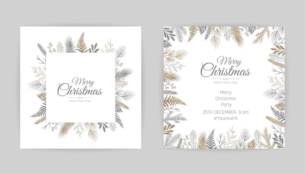 Frohe weihnachten grußkarte mit blumendekoration