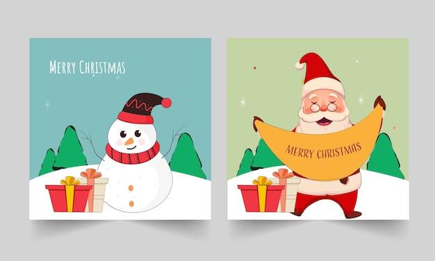 Frohe weihnachten-grußkarte mit cartoon-schneemann, weihnachtsmann und geschenkboxen in zwei optionen.