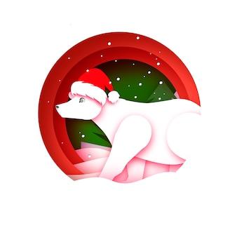 Frohe weihnachten grußkarte mit eisbär. ursus maritimus. netter eisbär, der weihnachtsmannhut im papierschnittstil trägt. frohes neues jahr. rot.