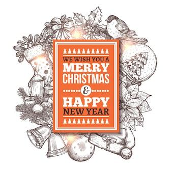Frohe weihnachten grußkarte mit festlichen und feiertagshand gezeichneten ikonen. skizze illustration