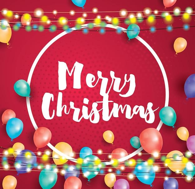 Frohe weihnachten-grußkarte mit fliegenden ballons, weißem rahmen und neon-girlande. vektor-illustration.