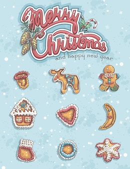 Frohe weihnachten grußkarte mit gegenständen