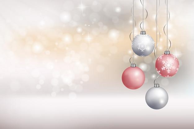 Frohe weihnachten grußkarte mit hängenden ball vektor