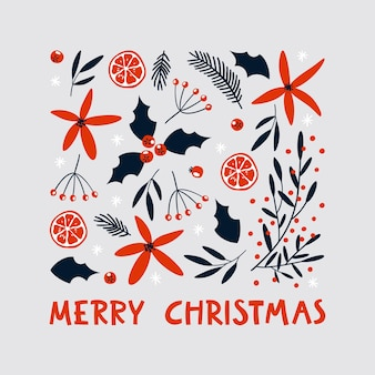 Frohe weihnachten grußkarte mit handgezeichneten dekorativen elementen.