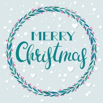 Frohe weihnachten-grußkarte mit handgezeichneten schriftzügen und blumenkranz, vektor-illustration.