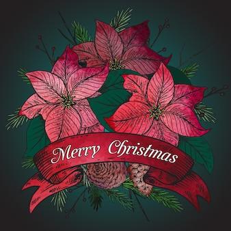 Frohe weihnachten grußkarte mit handgezeichneten winterpflanzen. weinleseillustration.