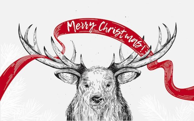 Frohe weihnachten grußkarte mit hirsch