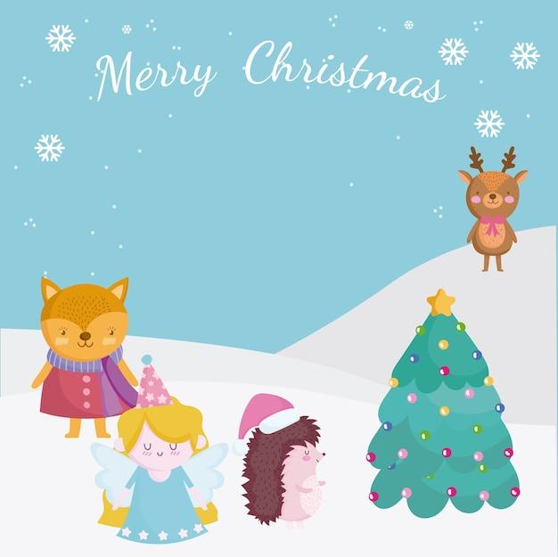Frohe weihnachten, grußkarte mit hirschfuchs-engel im schnee mit baumillustration