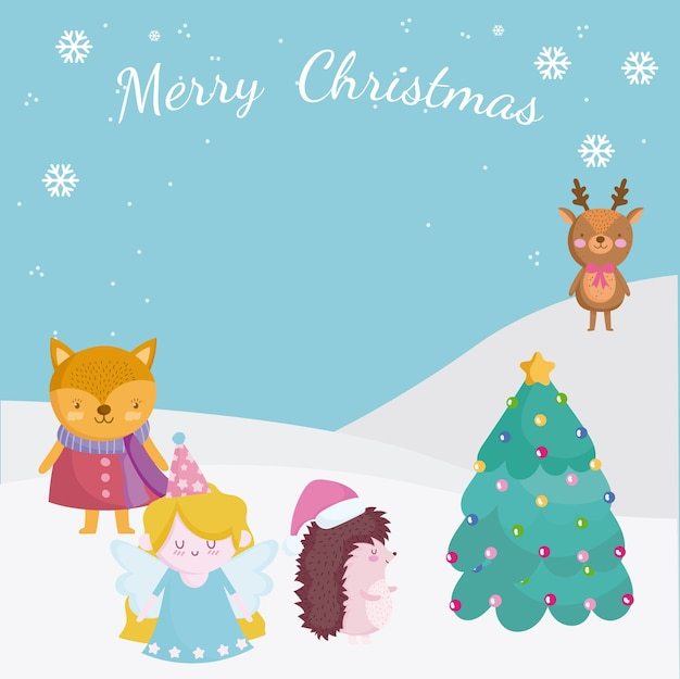 Frohe weihnachten, grußkarte mit hirschfuchs engel im schnee mit baumillustration
