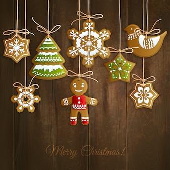 Frohe weihnachten grußkarte mit keksen