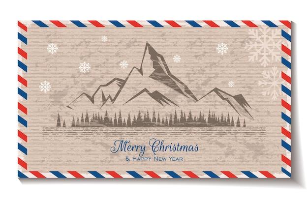 Frohe weihnachten-grußkarte mit kiefer und berg-vektor-illustration im vintage-stil