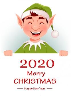 Frohe weihnachten grußkarte mit lustigen elf