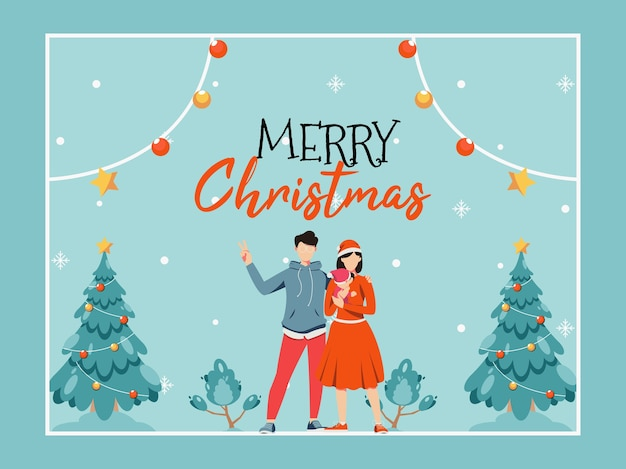 Frohe weihnachten grußkarte mit niedlichen cartoon-familie
