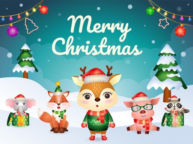 Frohe weihnachten grußkarte mit niedlichen tieren charakter: hirsch, schwein, fuchs, waschbär und elefant