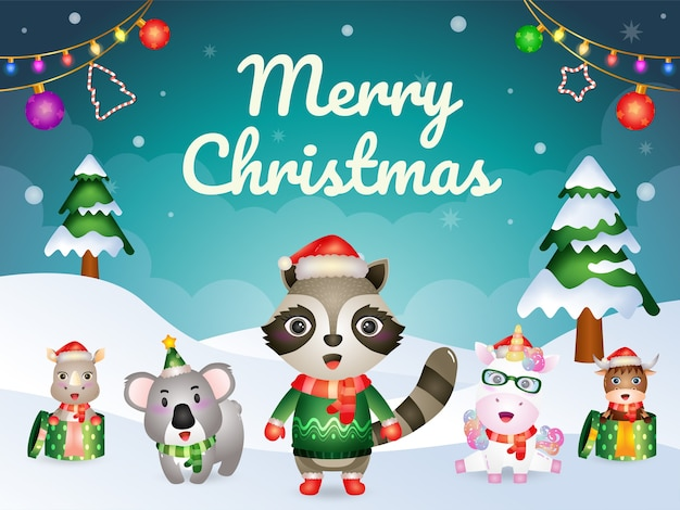 Frohe weihnachten grußkarte mit niedlichen tieren charakter: waschbär, einhorn, koala, nashorn und büffel
