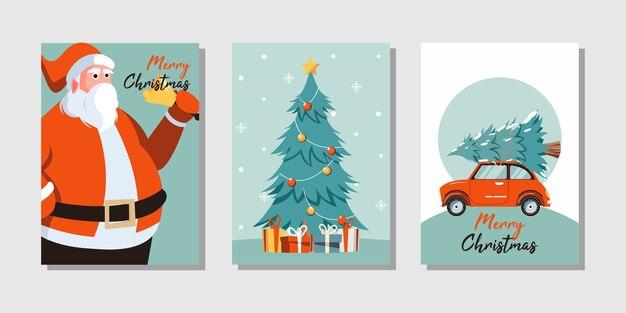 Frohe weihnachten grußkarte mit niedlichen weihnachtsbaum, weihnachtsmann und auto
