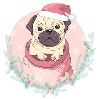 Frohe weihnachten grußkarte mit porträt der niedlichen französischen bulldogge in der roten weihnachtsmütze. vektorillustration.