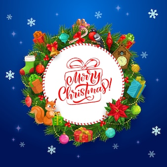 Frohe weihnachten grußkarte mit rahmen des weihnachtskranzes