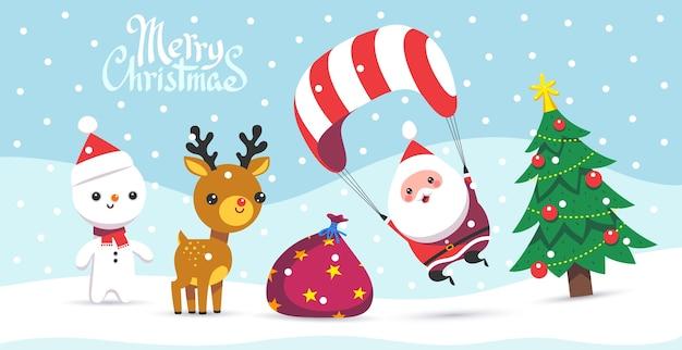 Frohe weihnachten grußkarte mit schneeflocken und lustigem weihnachtsmann mit seinen freunden. karikatur flacher stil.