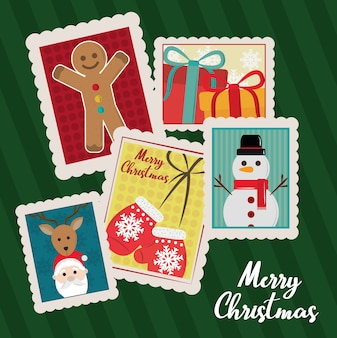 Frohe weihnachten, grußkarte mit schneemann, weihnachtsmann, geschenke dekoration stempel ikonen illustration