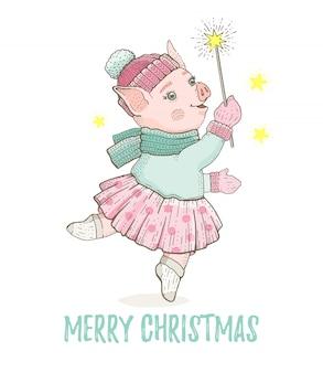 Frohe weihnachten grußkarte mit tanzenden schwein