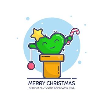Frohe weihnachten grußkarte mit text mey alle ihre träume werden wahr. netter kleiner kaktuscharakter in einem topf, der als tannenbaum verziert wird. flache strichzeichnungen, farbig. illustration, isoliert auf weiß