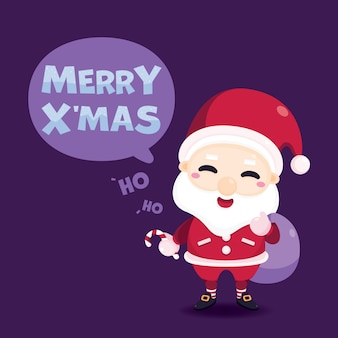 Frohe weihnachten grußkarte mit weihnachtsmann und zuckerstange.