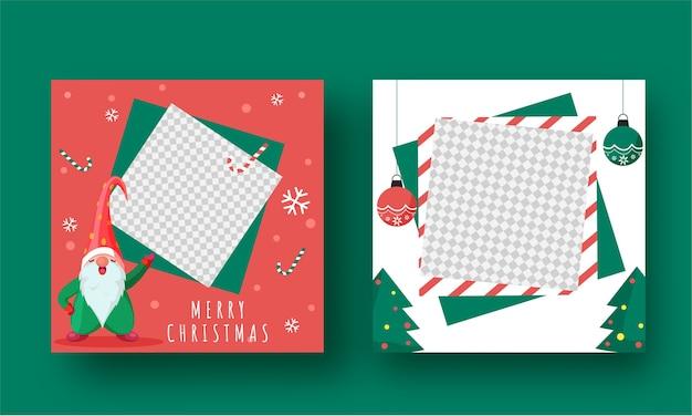 Frohe weihnachten grußkarte oder poster design mit platz für text oder bild in zwei farben option.