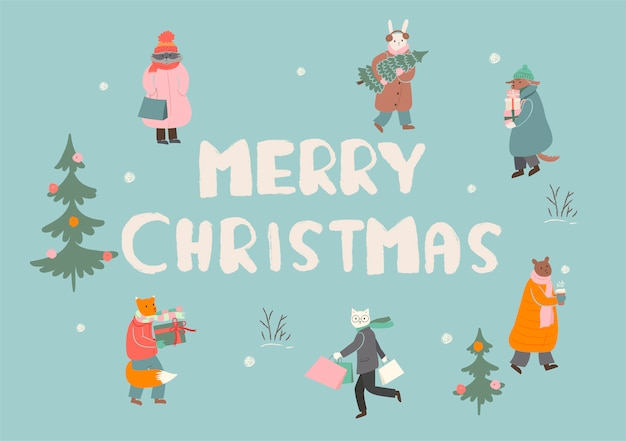 Frohe weihnachten grußkarte oder poster. die tiere bereiten sich auf die winterferien vor. grafik.