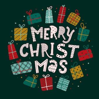 Frohe weihnachten grußkarte, poster, druck
