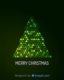 Frohe weihnachten grußkarte von digitalen weihnachtsbaum Kostenlosen Vektoren