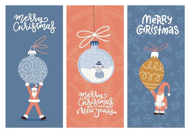 Frohe weihnachten grußkarten-design-kollektion mit pastellfarbenen festlichen feiertagsszenen mit weihnachtsbaumkugeln und text über einem hintergrund von schneeflocken. flache vektorillustration. vertikale banner.