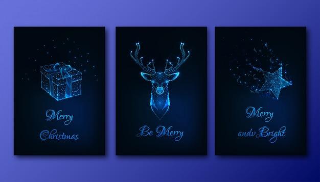 Frohe weihnachten grußkarten mit futuristisch leuchtenden elementen gesetzt