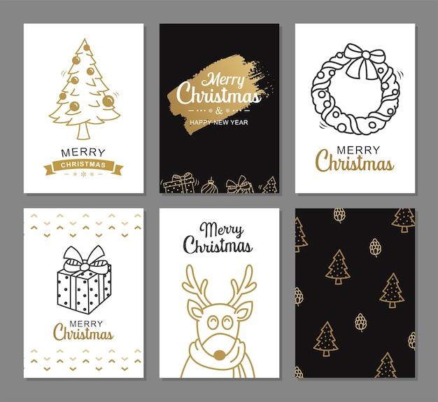 Frohe weihnachten grußkarten mit gold luxus dekoration vorlagen set von feiertagsplakaten tag banner postkarten design