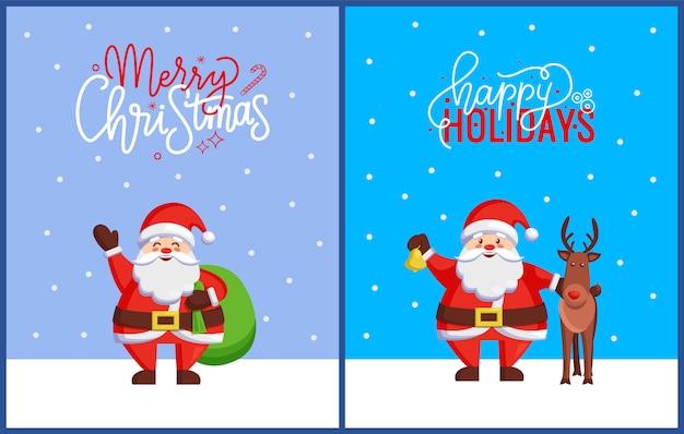 Frohe weihnachten grußkarten mit santa claus