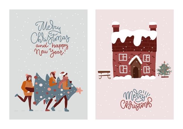 Frohe weihnachten-grußkarten mit süßem skandinavischen haus und freunden, die weihnachtsbaum-tempel halten ...