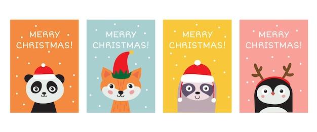 Frohe weihnachten grußkartensammlung. niedliche handgezeichnete tiere panda, fuchs, faultier, pinguin