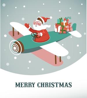 Frohe weihnachten grußkartenschablone mit weihnachtsmann in einem flugzeug.