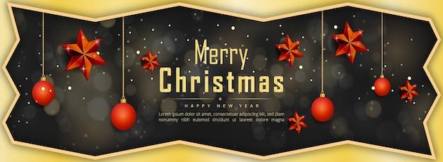 Frohe weihnachten guten rutsch ins neue jahr banner goldene sterne und weihnachtselemente premium-vektor