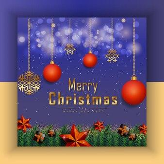 Frohe weihnachten, guten rutsch ins neue jahr blaue goldene sterne und weihnachtselemente premium-vektor