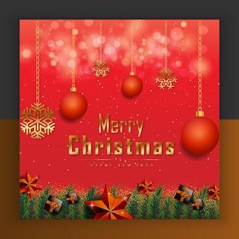 Frohe weihnachten, guten rutsch ins neue jahr rote goldene sterne und weihnachtselemente premium-vektor