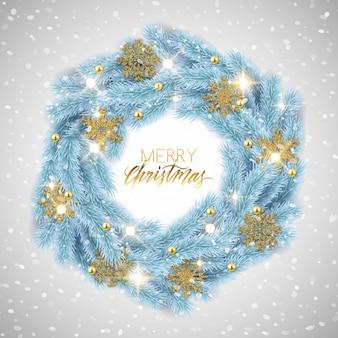 Frohe weihnachten, guten rutsch ins neue jahr-tannenbaumkranz mit dekorationen