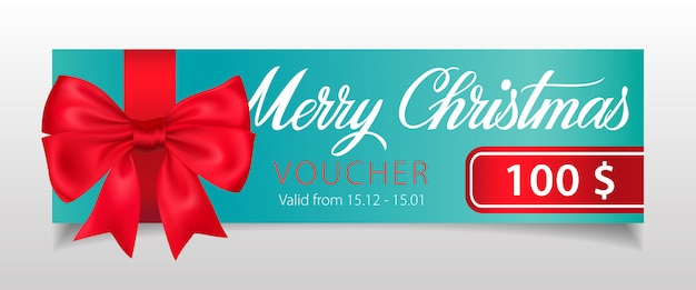 Frohe weihnachten, gutscheinbeschriftung mit großer schleife