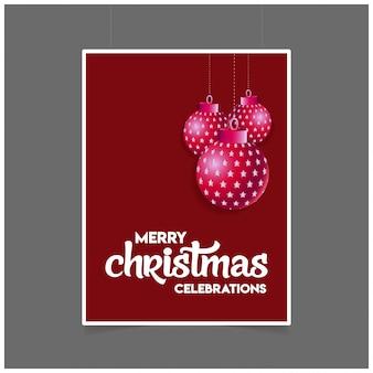 Frohe weihnachten hängende kugel mit beschriftung