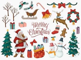 Frohe Weihnachten Hand gezeichnete Karte